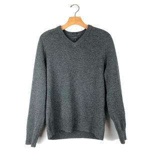 J. CREW Gray vneck lambswool sweater, slim medium